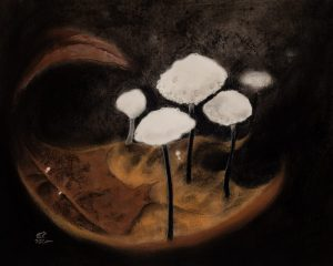 pastel painting of five small white mushrooms growing on an oak leaf