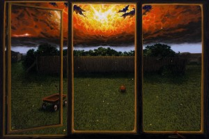 painting of a view of dynamic sky through an open window, lawn and fence just ahead.